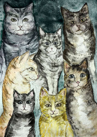 Gathering of different kind of rustic cats with a turquoise background . The dabbing technique gives a soft focus effect due to the altered surface roughness of the paper. Stock Photo