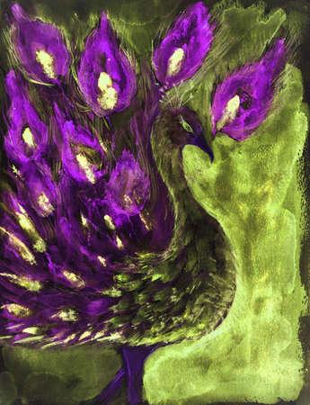 Pauw in paars en groen. De deppen techniek geeft een soft focus effect als gevolg van de veranderde oppervlakteruwheid van het papier. Stockfoto