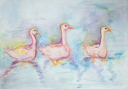 Three pink gooses swimming. The dabbing technique gives a soft focus effect due to the altered surface roughness of the paper.