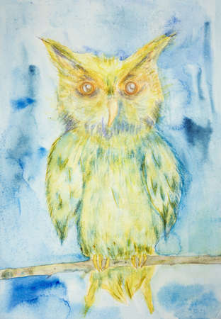 Blue and yellow owl on a branch on a blue background. The dabbing technique near the edges gives a soft focus effect due to the altered surface roughness of the paper.
