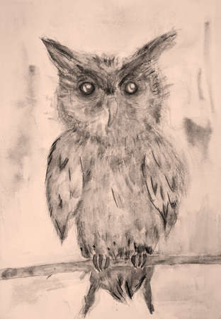 Owl in sepia tones on a branch. The dabbing technique near the edges gives a soft focus effect due to the altered surface roughness of the paper.