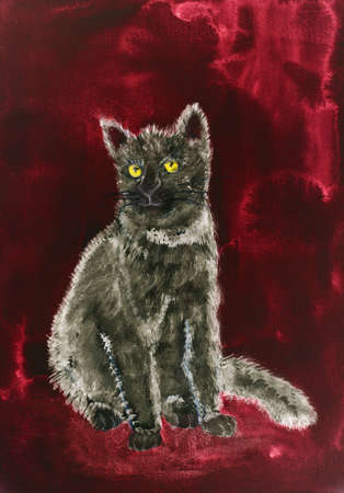 Grey kitten on a whine red background. The dabbing technique gives a soft focus effect due to the altered surface roughness of the paper.