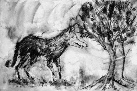 Weathered wild wolf in the forest in black and white tones. The dabbing technique near the edges gives a soft focus effect due to the altered surface roughness of the paper.