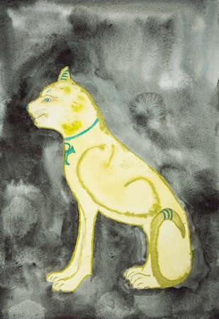 Golden sphinx on a black background. The dabbing technique gives a soft focus effect due to the altered surface roughness of the paper.