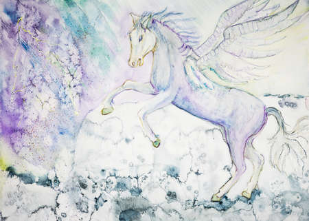White prancing horse of the apocalypse with wings.