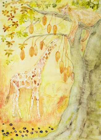 Giraffe eating from a baobab tree with sleeping lioness. The dabbing technique near the edges gives a soft focus effect due to the altered surface roughness of the paper.