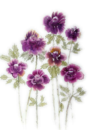Seven purple roses on a white background. The dabbing technique near the edges gives a soft focus effect due to the altered surface roughness of the paper.