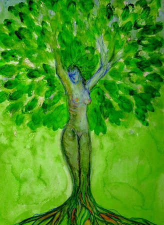 Green tree of life with the shape of a woman. The dabbing technique gives a soft focus effect due to the altered surface roughness of the paper. Stok Fotoğraf