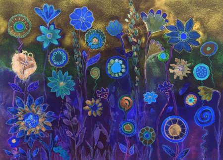 파란색 환각 막대 사탕과 꽃입니다. dabbing 기술은 종이의 변경된 표면 거칠기로 인해 소프트 포커스 효과를 제공합니다.