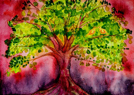 Psychedelic pear tree with doves and red background. The dabbing technique gives a soft focus effect due to the altered surface roughness of the paper.
