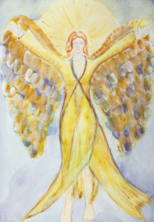 Feminine angel with long dress and wings. The dabbing technique gives a soft focus effect due to the altered surface roughness of the paper.