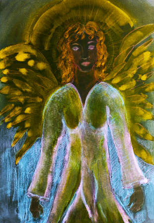 Meditating feminine black angel with aura. The dabbing technique gives a soft focus effect due to the altered surface roughness of the paper.
