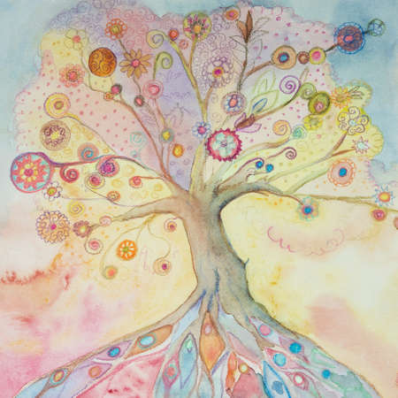 Whimsical tree of life with pastel colors. The dabbing technique gives a soft focus effect due to the altered surface roughness of the paper. Stok Fotoğraf - 114560084