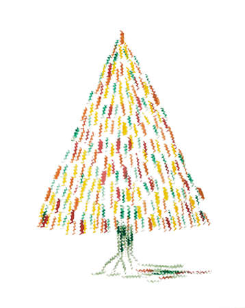 Abstract whimsical Christmas tree. The dabbing technique gives a soft focus effect due to the altered surface roughness of the paper.