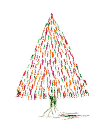 Christmas tree with red and orange design. The dabbing technique gives a soft focus effect due to the altered surface roughness of the paper.