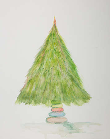 Evergreen Christmas tree. The dabbing technique gives a soft focus effect due to the altered surface roughness of the paper.