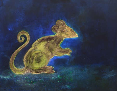 Rat at night on a blue background. The dabbing technique gives a soft focus effect due to the altered surface roughness of the paper. Imagens - 114560145