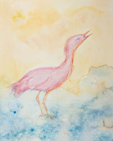 Pink ibis in the river looking up. The dabbing technique gives a soft focus effect due to the altered surface roughness of the paper.