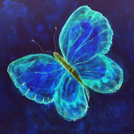 Flying butterfly in bright blue. The dabbing technique gives a soft focus effect due to the altered surface roughness of the paper. Imagens