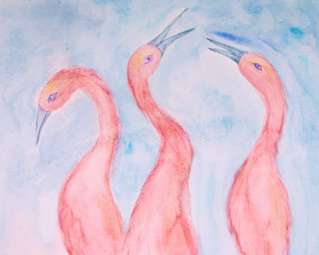 Three pink ibis on a blue background. The dabbing technique gives a soft focus effect due to the altered surface roughness of the paper.