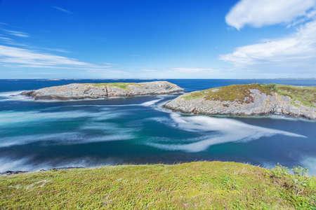 Long exposure of little islands on the Norwegian coast along the Atlantic Road