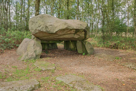 Looking at the inside of Dolmen G1 in the vicinity of Noordlaren
