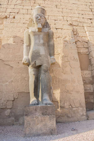 Standing in front of the statue of Ramesses II at the entrance of the temple of Luxor 免版税图像