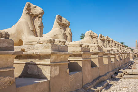 Looking down at the Avenue of the Sphinxes from the Temple of Karnak Banco de Imagens - 122571893