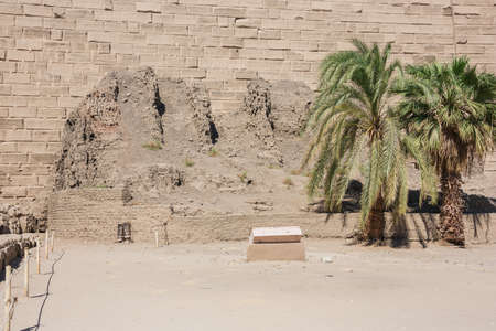 Close up of a construction ramp inside the Temple of Karnak
