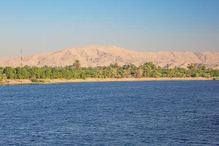 The desert comes close to the Nile at Nagaa Al Muhdat