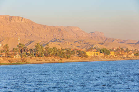 Approaching Al Miallah at the golden hour, seen while navigating on the Nile