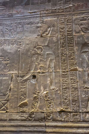 Life-size depiction of Horus in the temple in Edfu