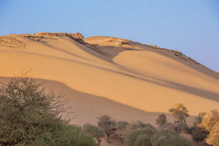 Desert sand dunes in an evening sun near Jazirat Salujah close to Aswan