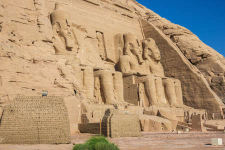 Side view of the Great Temple with Ramesses II at Abu Simbel