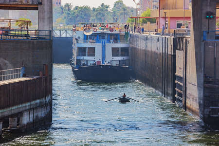 Editorial: ESNA, EGYPT, October 16, 2018 - A view into the Esna lock on the Nile