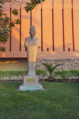 Editorial: LUXOR, EGYPT, October 16, 2018 - The statue of Amenhotep III in the courtyard of the Luxor museum
