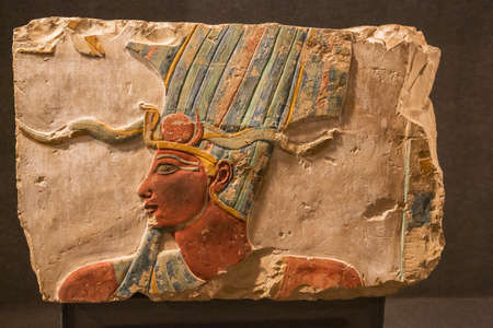Editorial: LUXOR, EGYPT, October 16, 2018 - Bas relief of Thutmoses III in theLuxor museum
