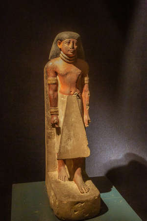 Editorial: LUXOR, EGYPT, October 16, 2018 - Character decorated with the necklace of honor in the Luxor museum