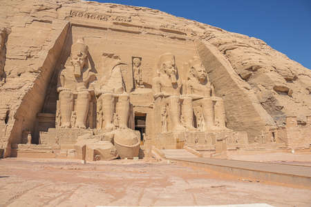 Standing at the entrance of the Great Temple of Abu Simbel