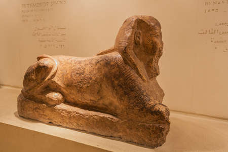Editorial: LUXOR, EGYPT, October 16, 2018 - Tuthmosis III depicted as sphinx in the Luxor museum