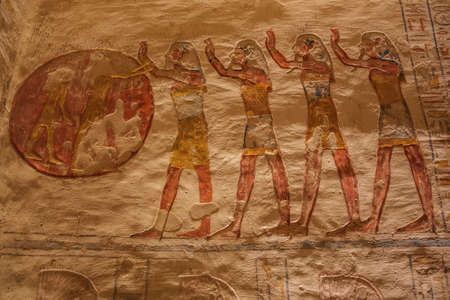 Painted representation of worshipping the sun in the tomb of Ramesses VII in the Valley of the Kings