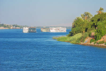Nile cruise ships passing AR Rayaynah, between Luxor and Aswan