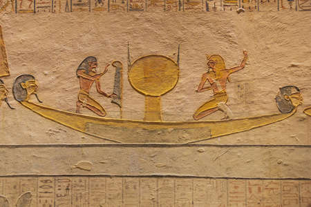 Painting of the solar boat in the tomb of Ramesses IX