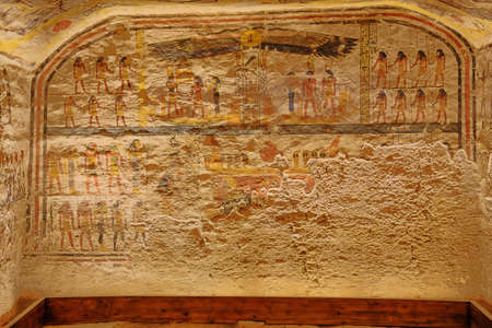 View of the burial chamber in the tomb of Ramesses IX