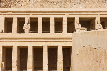 Detail of the right hand side of the Temple of Hatshepsut in the vicinity of Luxor Фото со стока