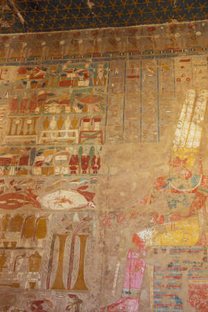Wall painting with the pharaoh in the Temple of Hatshepsut in the vicinity of Luxor