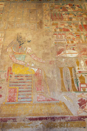 Wall painting with Anubis in the Temple of Hatshepsut in the vicinity of Luxor