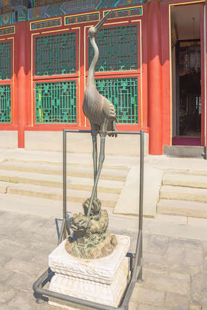 Bronze crane in the Summer Palace, the former imperial garden 写真素材