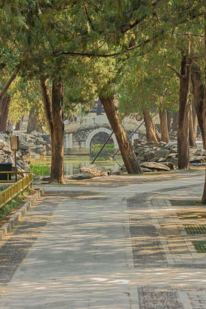 Small stone bridge with shaded walk, in the Summer Palace 写真素材