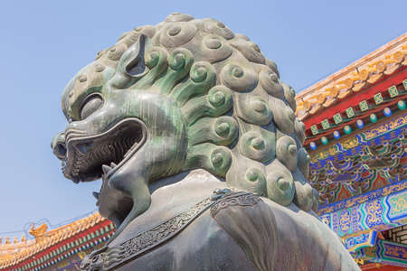 Close up of the head of a bronze lion, in the Summer Palace 写真素材